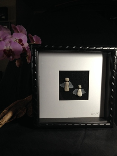 "Stone Angels with glass wings. Framed in 10""x10"" shadow boxes"