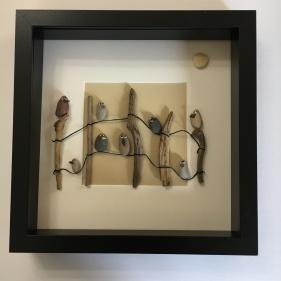 """"""" Rustic Charm"""". Birds on a rickety farm fence."""