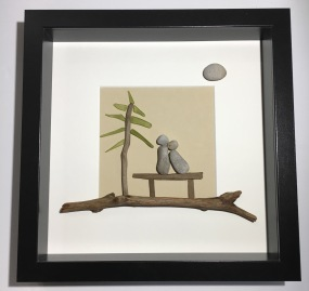 Couple on Bench. Features driftwood and glass tree. S
