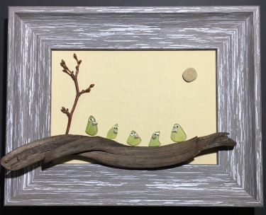 Beach glass birds on driftwood in deep wood frame. Sold