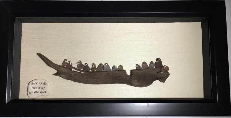 """"""" When we are Together we are Home"""" . Features sea glass birds on driftwood."""