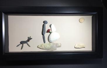 Custom design. Wedding couple and their greyhound.
