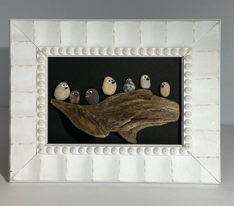 Birds on driftwood, white wood frame