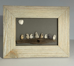 Birds on driftewood, wood frame