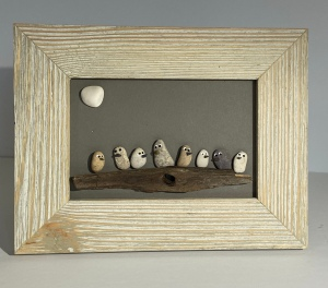 Birds on driftewood, wood frame