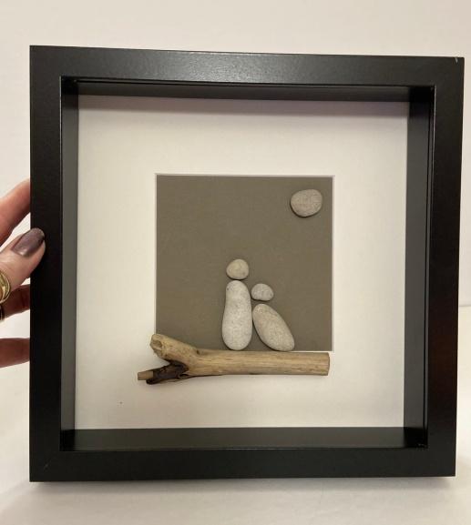 "Couple on driftwood, 10""x10 frame"