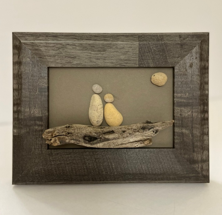 Couple on driftwood, rustic wood frame